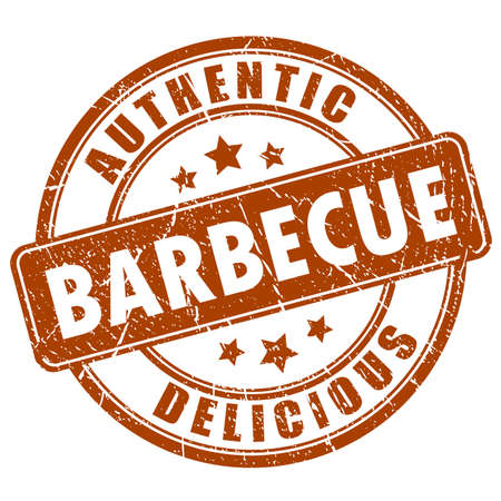 round logo: Barbecue rubber stamp Illustration
