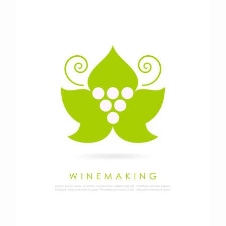 Green grape vine leaf logo Illustration