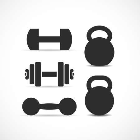 sports equipment: Dumbbells and kettlebells vector icon set Illustration