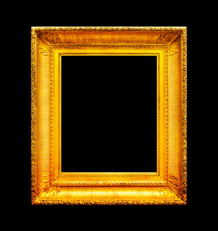 image: Old gold wooden frame isolated on black background