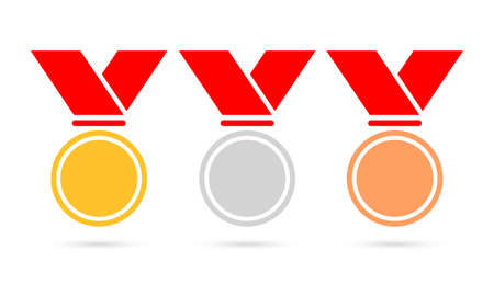 Sport medals set vector icon Illustration
