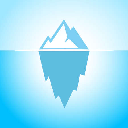 tip of iceberg: Iceberg in blue water vector icon Illustration