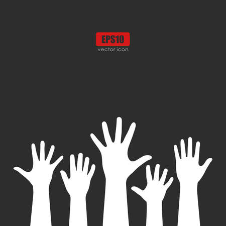 raise the thumb: Raised hands vector poster Illustration