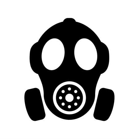 Gas mask vector silhouette sign Çizim