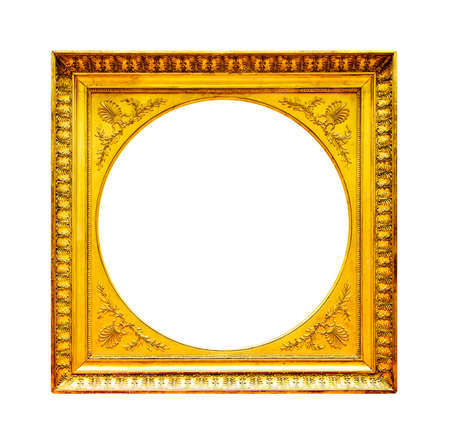 aged: Gold wood frame isolated on white background