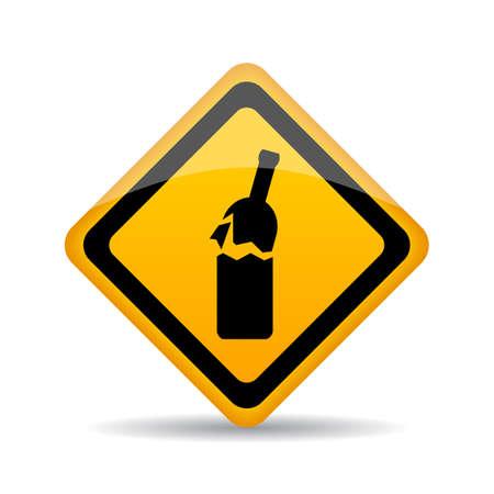 interdiction: Panneau d'avertissement de verre cassé.