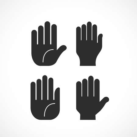 Human hand palms set. Illustration