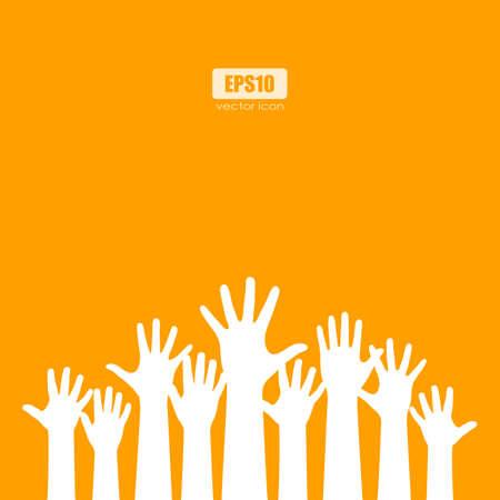 Raised hands orange vector poster Stock Illustratie