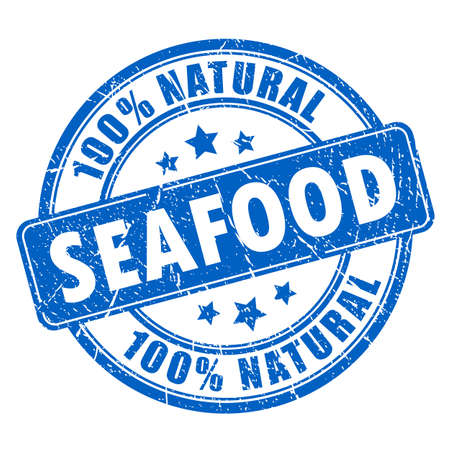 Natural seafood rubber stamp Vectores