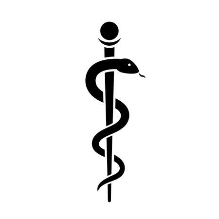 Snake with stick ancient medical symbol