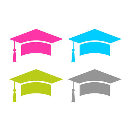 Square graduation cap vector icon