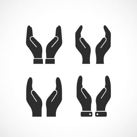 two: Care hands vector icon Illustration