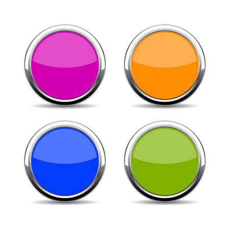 chrome: Color glass web button set Illustration