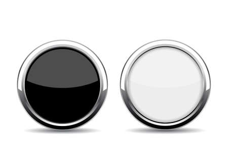 glass reflection: Round chrome glass buttons