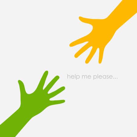 Due mani tese, concetto di aiuto