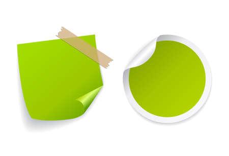 녹색 원형 및 사각형 스티커 세트 일러스트