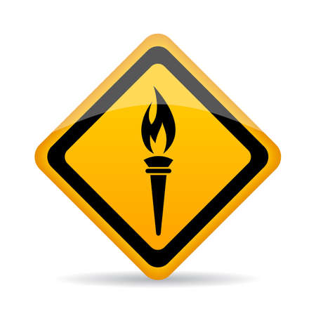 Blazing torch fire vector sign