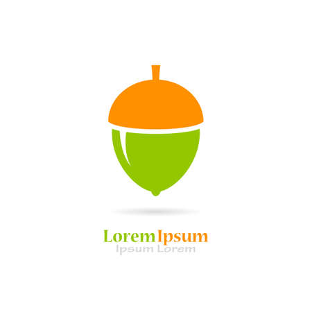 Green acorn vector icon Illustration