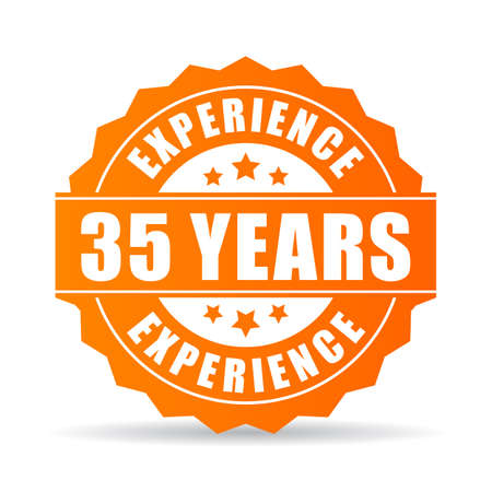 Thirty-five years experience vector icon