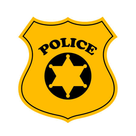 Police officer badge vector icon Çizim