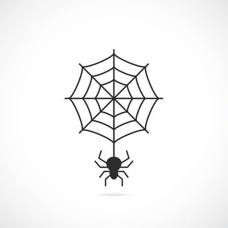 Spider and cobweb vector icon