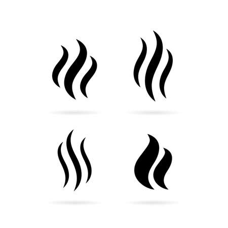 Steam smoke vector icon set