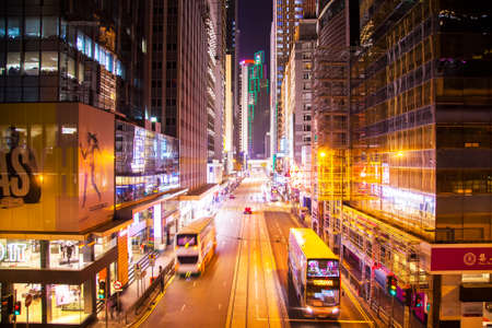 big: HONG KONG - 20 APRIL 2017: Des Voeux central road at night in Hong Kong Editorial