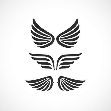 Angel wings vector icon set Illustration