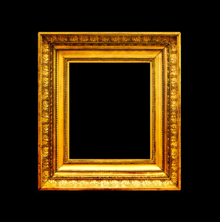Old gold photo frame isolated on black background Stock Photo