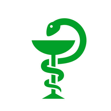 Medical symbol snake with cup Vectores