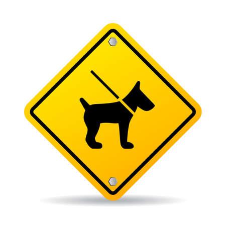 Dog on leash vector sign