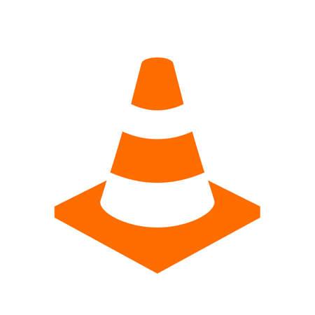Icona arancione vettore di cono di sicurezza