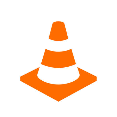 dangerous construction: Orange safety cone vector icon