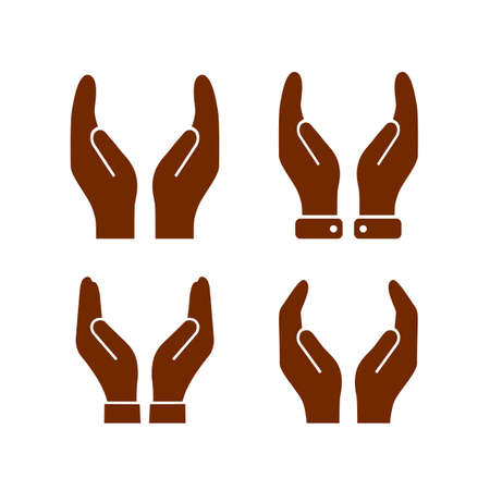 Hands protection gesture vector sign