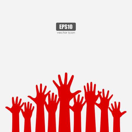 Many raised hands vector poster illustration on white background Illustration