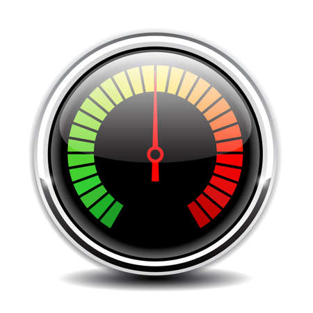 Round glass speed meter vector icon
