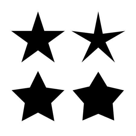 Vijf puntige sterrenpictogrammen Stock Illustratie