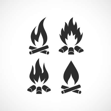 Blazing fire flame vector icon set
