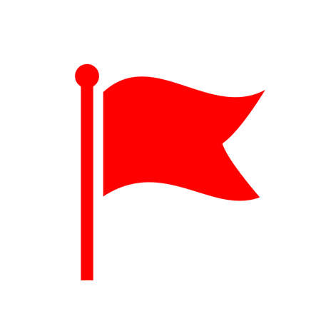 reference point: Red waving flag vector icon Illustration