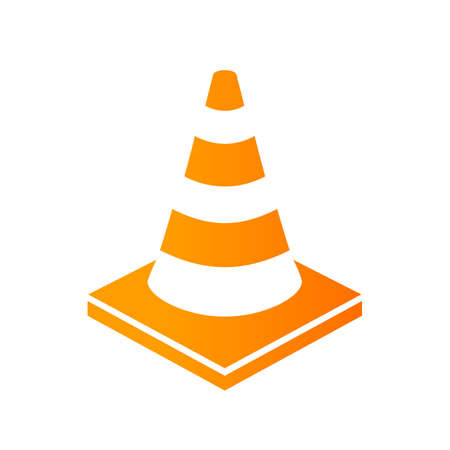 Construction yellow cone vector icon Illustration