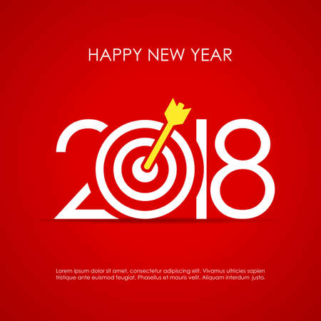 Happy 2018 New Year greeting card design with target board