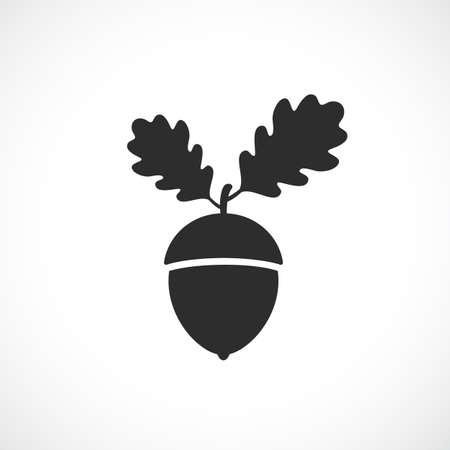 Acorn with oak leaves vector icon