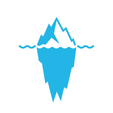 tip of iceberg: Waves and iceberg vector icon