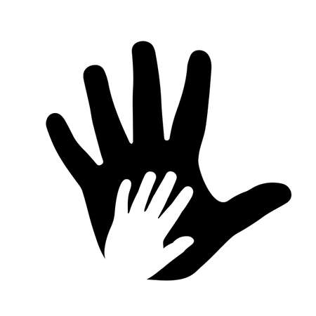 Help concept, adult and child hands