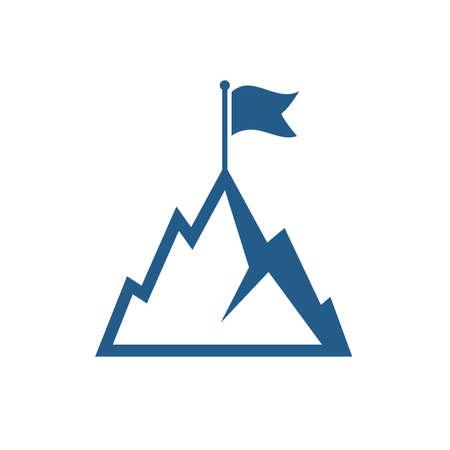 Mountain with flag vector icon