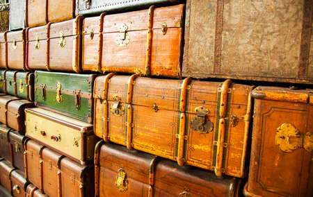 Retro travel trunks abstract background