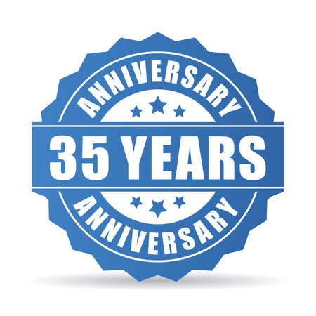 35年記念日ベクトルアイコン