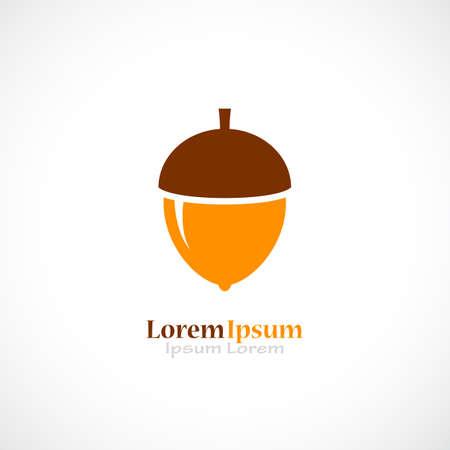 Yellow ripe acorn icon Illustration