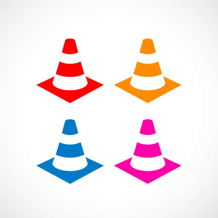 Traffic cone vector icon Illustration