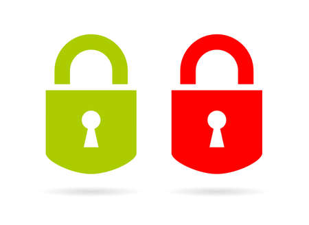 Green and red padlock vector icon Illustration